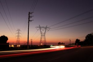 Powerlines sunset cars